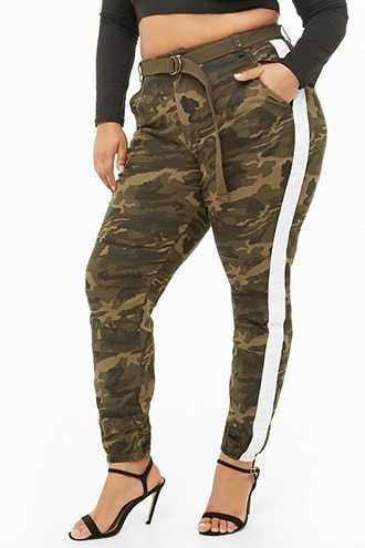 Forever 21 Plus Size Belted Striped Camo Pants  Olive/white - GOOFASH