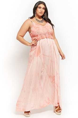 Forever 21 Plus Size Boho Me Crochet Overlayer Tassel Maxi Dress  Peach - GOOFASH