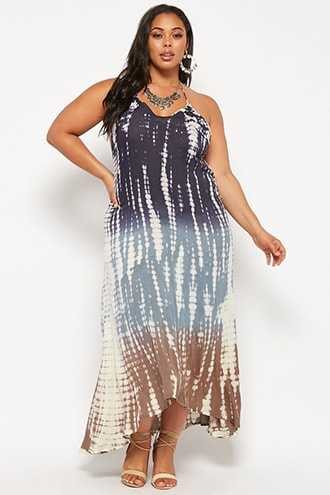 Forever 21 Plus Size Boho Me Tie-Dye Halter Dress  Charcoal - GOOFASH