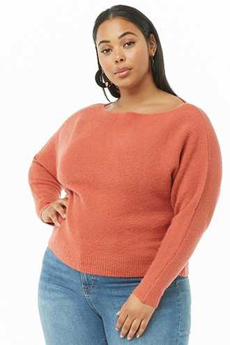 Forever 21 Plus Size Brushed Knit Off-the-Shoulder Sweater  Amber - GOOFASH
