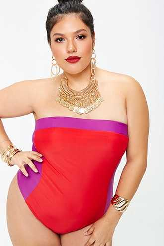 Forever 21 Plus Size Colorblock One-Piece Swimsuit  Red/purple - GOOFASH