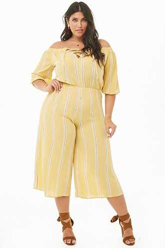 Forever 21 Plus Size Crinkled Striped Off-the-Shoulder Culotte Jumpsuit  Mustard/white - GOOFASH