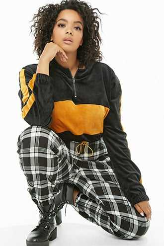 Forever 21 Plus Size Cropped Colorblock Hoodie Black/mustard - GOOFASH