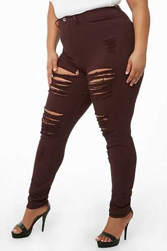 Forever 21 Plus Size Distressed Skinny Jeans  Plum - GOOFASH