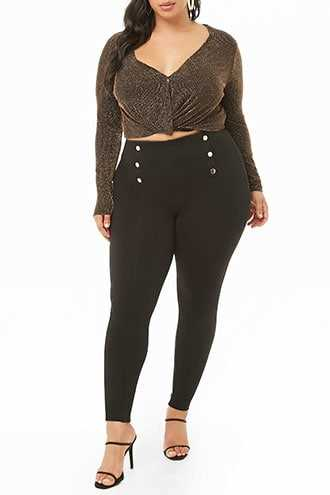 Forever 21 Plus Size Double-Breasted High-Rise Leggings  Black - GOOFASH