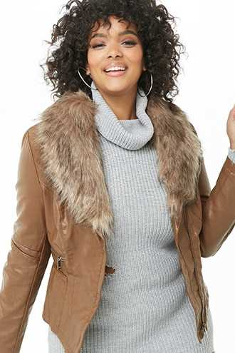 Forever 21 Plus Size Faux Leather & Fur Collar Jacket  Camel/brown - GOOFASH