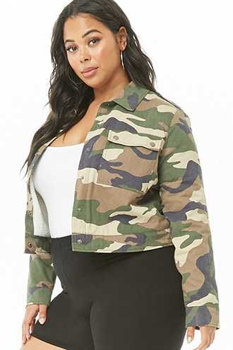 Forever 21 Plus Size Faux Shearling-Lined Camo Jacket  Olive/black - GOOFASH