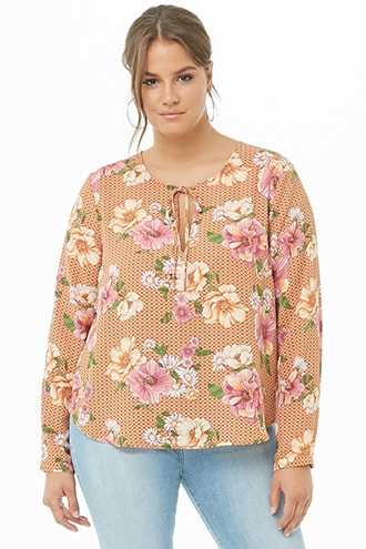 Forever 21 Plus Size Floral & Geo Chiffon Cutout Top  Rust/multi - GOOFASH