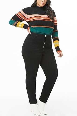 Forever 21 Plus Size High-Rise Jeans  Black - GOOFASH