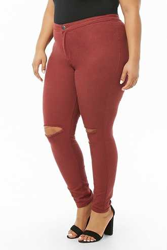 Forever 21 Plus Size High-Rise Skinny Jeans Burgundy - GOOFASH