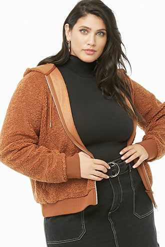 Forever 21 Plus Size Hooded Faux Shearling Jacket Brown - GOOFASH