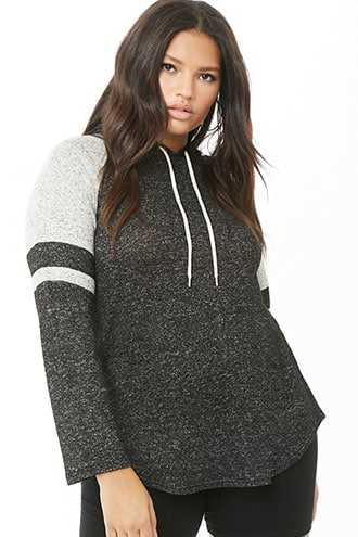 Forever 21 Plus Size Hooded Top  Black/heather Grey - GOOFASH
