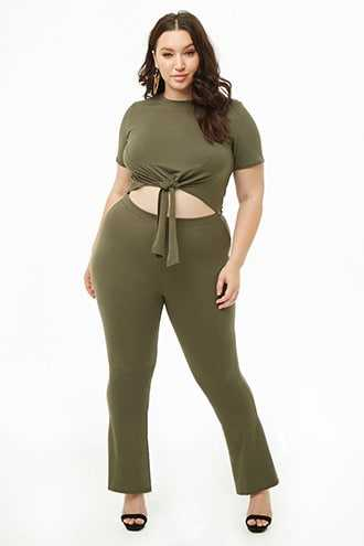 Forever 21 Plus Size Knotted Tee & Flared Pants Set  Olive - GOOFASH