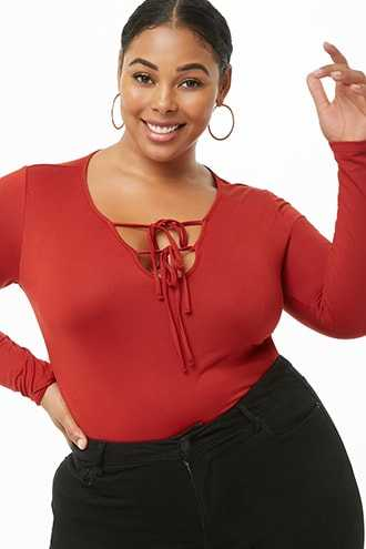 Forever 21 Plus Size Lace-Up Top  Rust - GOOFASH