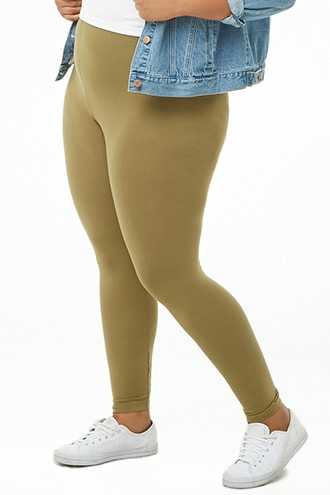 Forever 21 Plus Size Leggings Olive - GOOFASH