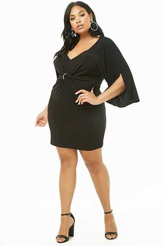 Forever 21 Plus Size O-Ring Twist-Front Dress Black - GOOFASH