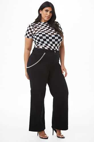 Forever 21 Plus Size Palazzo Curb Chain Jeans  Black - GOOFASH