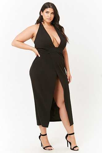 Forever 21 Plus Size Plunging Halter Dress  Black - GOOFASH