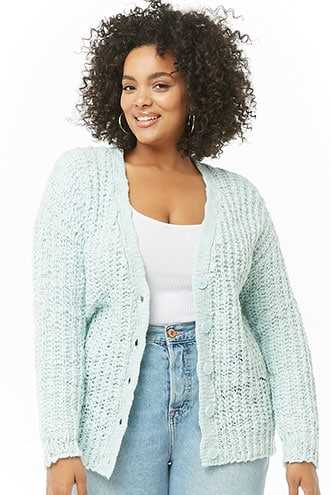 Forever 21 Plus Size Ribbed Cardigan  Mint - GOOFASH