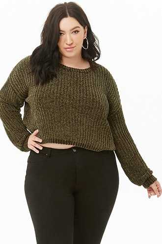 Forever 21 Plus Size Ribbed Chenille Sweater  Emerald - GOOFASH