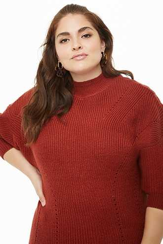 Forever 21 Plus Size Ribbed Knit Dolman Sweater  Rust - GOOFASH