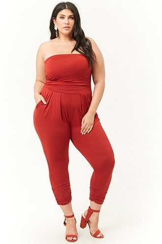 Forever 21 Plus Size Ruched Strapless Jumpsuit  Brick - GOOFASH