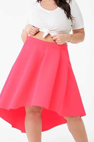 Forever 21 Plus Size Scuba High-Low Skirt  Pink - GOOFASH
