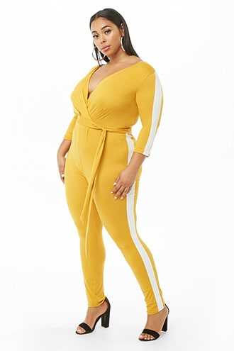 Forever 21 Plus Size Side-Striped Jumpsuit  Mustard/white - GOOFASH