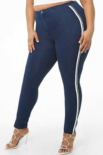 Forever 21 Plus Size Side-Striped Skinny Jeans  Blue - GOOFASH