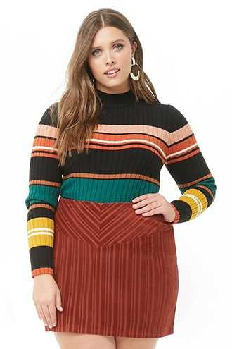 Forever 21 Plus Size Striped Corduroy Skirt  Rust - GOOFASH