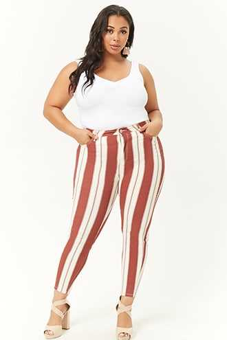 Forever 21 Plus Size Striped High-Rise Jeans  Cream/wine - GOOFASH