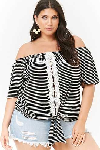 Forever 21 Plus Size Striped Off-The-Shoulder Top  Black/cream - GOOFASH