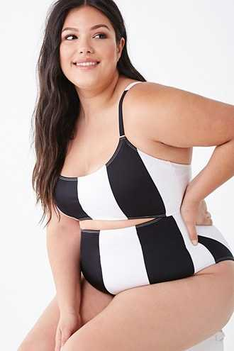 Forever 21 Plus Size Striped One-Piece Swimsuit  Black/multi - GOOFASH