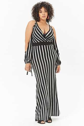 Forever 21 Plus Size Striped Open-Shoulder Maxi Dress Black/white - GOOFASH