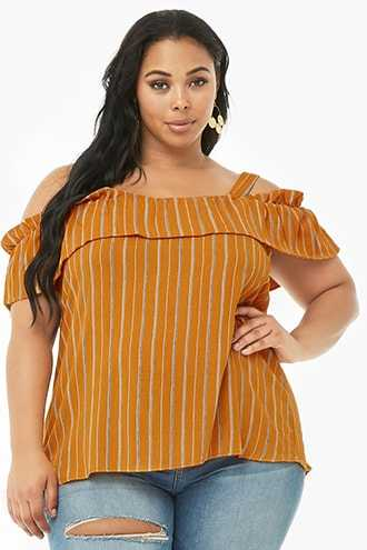 Forever 21 Plus Size Striped Open-Shoulder Top  Mustard/white - GOOFASH