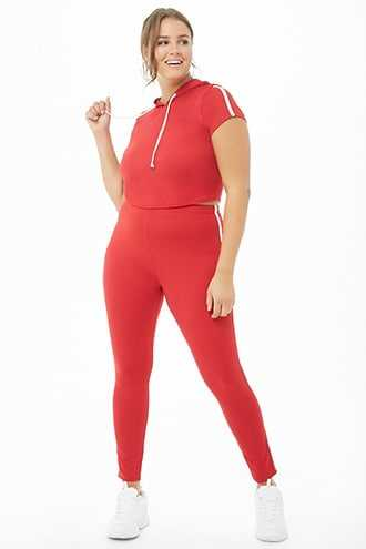 Forever 21 Plus Size Striped-Trim Hooded Crop Top & Leggings Set  Red - GOOFASH