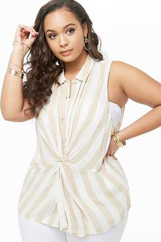 Forever 21 Plus Size Striped Twist-Front Shirt  Beige/ivory - GOOFASH