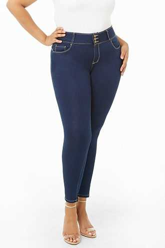 Forever 21 Plus Size Super Skinny Jeans  Dark Denim - GOOFASH