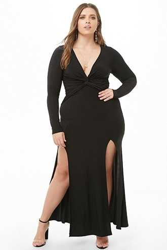 Forever 21 Plus Size Twist-Front M-Slit Dress  Black - GOOFASH