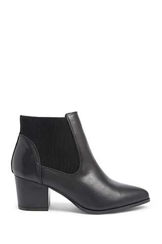 Forever 21 Pointed Chelsea Booties Black - GOOFASH