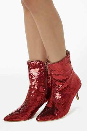 Forever 21 Pointed Sequined Booties  Red - GOOFASH