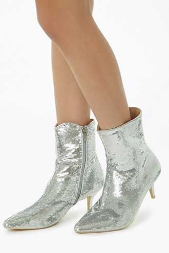 Forever 21 Pointed Sequined Booties  Silver - GOOFASH