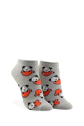 Forever 21 Puppy & Tea Cup Print Ankle Socks Heather Grey/multi - GOOFASH