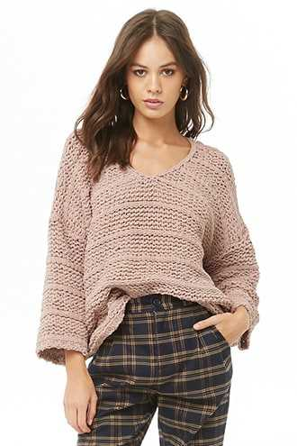 Forever 21 Purl Knit Relaxed Fit Sweater  Denim - GOOFASH