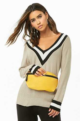 Forever 21 Purl Knit Varsity Sweater  Beige - GOOFASH
