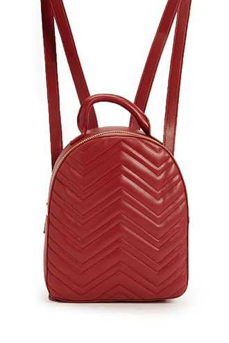 Forever 21 Quilted Chevron Backpack  Burgundy - GOOFASH