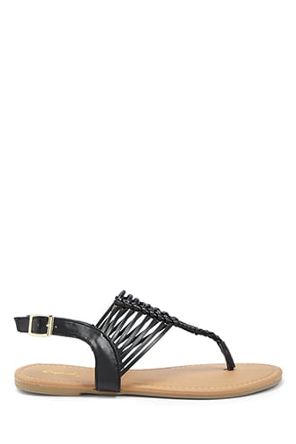 Forever 21 Qupid Braided Faux Leather Sandals  Black - GOOFASH
