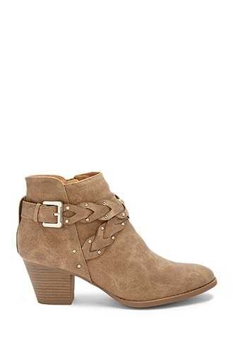 Forever 21 Qupid Braided-Strap Booties  Taupe - GOOFASH