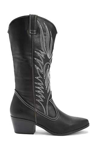 Forever 21 Qupid Embroidered Western Boots  Black - GOOFASH
