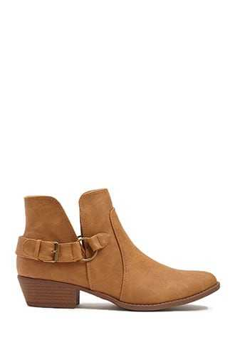 Forever 21 Qupid Faux Leather Buckle Booties  Camel - GOOFASH
